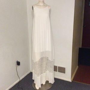 BCBG White Pleated Lace Maxi Dress S
